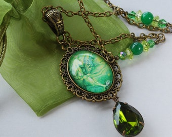Absinthe Necklace - Absinthe faerie - Green Faerie Neckace - Green Irish Faerie - Faerie Day - Faerie Charm