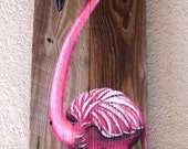 Flamingo Hand Painted on Wood Reclaimed Fence Boards (Custom Order Only)