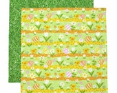 Easter Napkin, Kids Cloth Napkin, Fabric Napkin, Kids Lunch Napkin, Yellow and Green, 1 double sided napkin