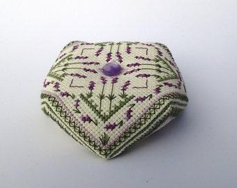 Lavender Fields Biscornu Cross Stitch pattern, Instant Download