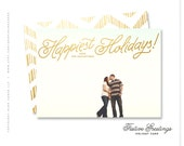 """unique holiday photo card gold - """"Festive Greetings"""""""