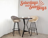 Wall Decal Words, Beach Wall Decor, Beach Wall Decal, Dorm Decor, Saturdays Sun Rays, Retro Wall Decor, Typography Wall Decal