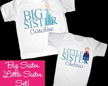 Personalized Frozen Anna and Elsa Big Sister Little Sister Shirt or Bodysuit Set - Personalized with ANY Names!