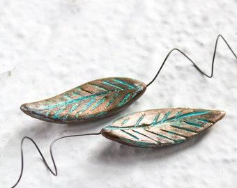 Pair Ceramic Leaf Headpins, Handmade Verdigris Green Copper Patina Pendant leaves Weddings Craft Supplies Boutonniere, DIY Summer Jewelry