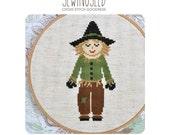 Scarecrow cross stitch pattern, Wizard of Oz Instant Download