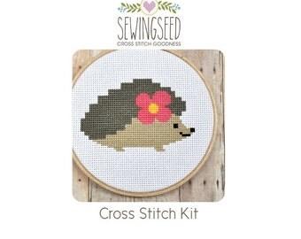 Hedgehog Cross Stitch Kit, DIY Kit, Embroidery Kit, Beginner Kit