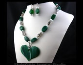 SALE - Banded Agate, Heart Pendant, 925 Sterling Silver, Necklace, Dangle Earrings, Beaded, Green and White Agate, Gemstone, Set, Jewelry