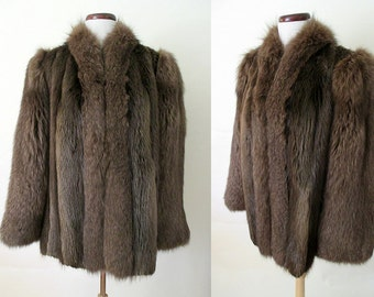 "Lush 1940's Fox ""Chubby"" Fur Jacket in Brown with Lighter Highlights Old Hollywood Glamour Starlet Vixen Pinup Size-Large"