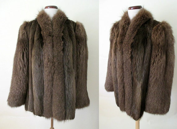 """Lush 1940's Fox """"Chubby"""" Fur Jacket in Brown with Lighter Highlights Old Hollywood Glamour Starlet Vixen Pinup Size-Large"""