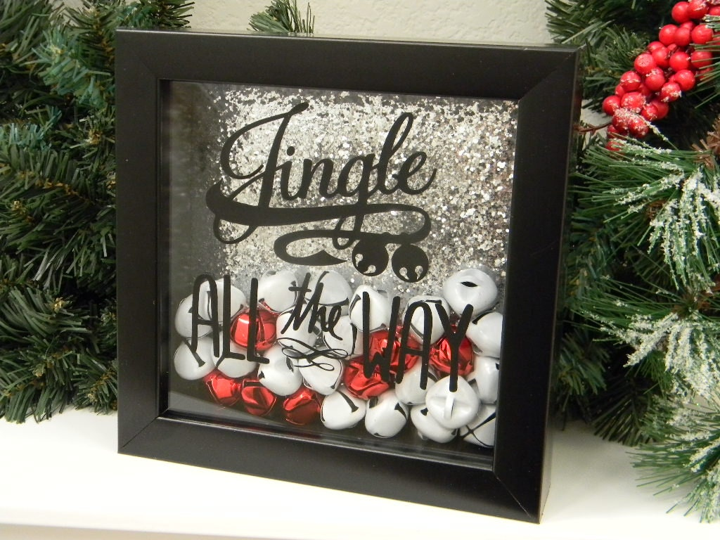 Jingle all the way christmas decor shadow box by justforkeeps for The christmas decorations