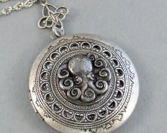 Oceans Octopus,Locket,Octopus,Shell,Octopus Locket,Antique Locket,Silver Locket,Goddess,Ocean Locket,Handmade jewelry by valleygirldesigns