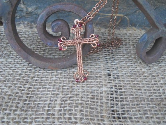 Wire Copper  Cross with 20 inch chain