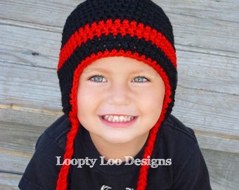 Crochet Hat, Earflap Hat, Baby Boy, Baby Girl, Photo Prop, Handmade - Sizes 12 MONTHS AND UP - more color options