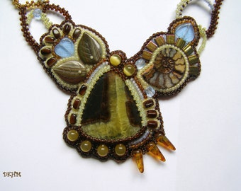 Freeform, brown, yellow and blue simbircite embroidered pendant on woven chain, ooak