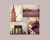 SALE, New York City Prints, Purple, Gold, NYC Art, Sets of 4 Prints, 5x7 Prints, 4 Photo Set, Save 50%