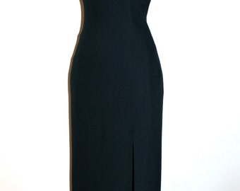 GIANNI VERSACE COUTURE Vintage Dress Black Side Slit Formal Gown  - Authentic -