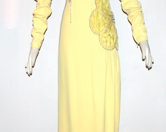 GALANOS Vintage Maxi Dress Yellow Beaded Floral Aplique Formal Gown - AUTHENTIC -