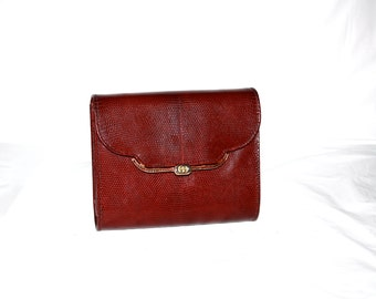 GUCCI Vintage Handbag Convertible Clutch Burgundy Lizard Leather - AUTHENTIC -