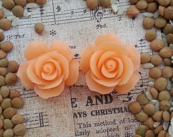 Large Bridal Plugs, Prom Plugs, Flower Plugs, Peach Roses