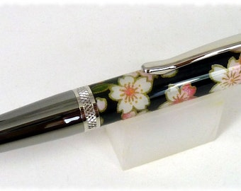 Midnight Blossom Hand Made Japanese Paper on a Sierra Twist Pen