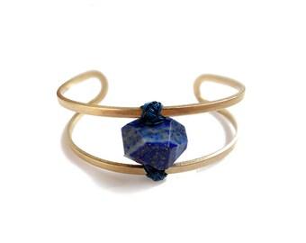Gemstone Cuff Bangle Bracelet, Wire Wrapped Lapis Bracelet, Birthstone Jewelry, Stone Bangle Bracelet