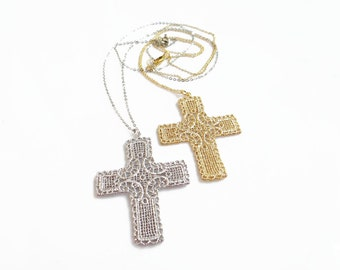 Large Cross Necklace, Silver or Gold Cross Necklace, Long Cross Necklace