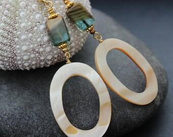 Long Blue and Cream Earrings