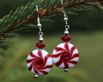 Peppermint Christmas Earrings, Holiday Earrings, Festive Earrings