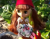 Red felt Gnome Cap Hat helmet for Blythe