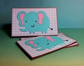 Endearing  Elephant-  Mini Cards Thank You Cards ( Set of 4)