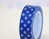 Blue Stars Washi Tape - 1 Roll - 10 mt - Ready to Ship