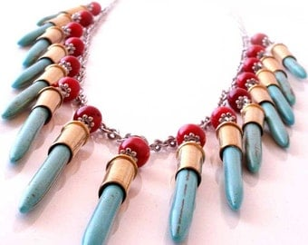 Waterfall Bullet Shell Necklace, Turquoise and Red Coral Accents, Multiple 22 Caliber Bullet Casings