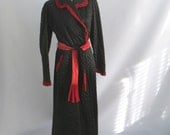 Vintage 40s 50s Dressing Gown Robe Black Satin and Red Velvet Quilted Robe