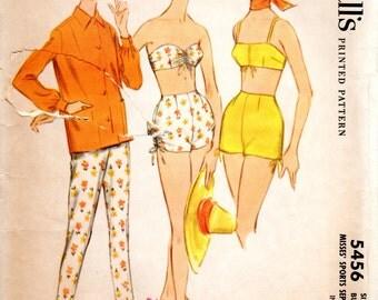 1960s Bathing Suit Sports Separates - Vintage Pattern McCalls 5456 - B34