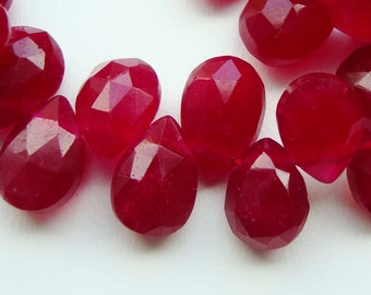 8-9x6mm, 6 pcs, Stunning Ruby Red chalcedony- Faceted Pear Briolettes
