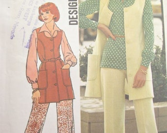 1970s Simplicity 6604 Tunic Blouse and Pants Trousers Vintage Sewing Pattern Bust 36