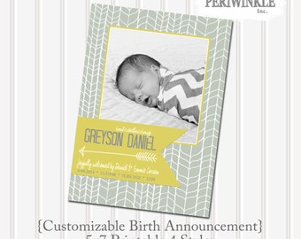 Baby Boy Birth Announcement 5x7 Custom Printable 4 Styles