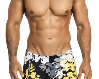 Men's Squarecut Swimsuit in Tropical Black/Yellow/Gray Hibiscus Print by Designer Vuthy Sim - 117-5