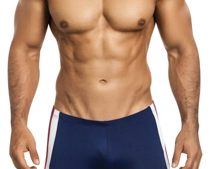 Patriotic Men's Squarecut Swimsuit in Navy Blue with Red & White Side Striping by Vuthy Sim - 435-5
