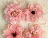 "NEW: Petaloo Textured Elements - Burlap Blossoms ""PINK""  Vintage Style Mesh Burlap flowers and Butterflies. Wedding / Appliques"