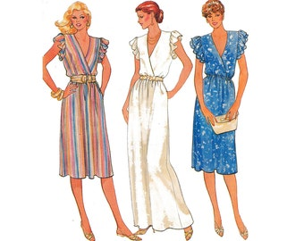 HALF PRICE Clearance Vintage 80s Maxi Prom Wrap Dress Sewing Pattern Size 18 20 22 Bust 40 42 44 inches UNCUT Factory Folded