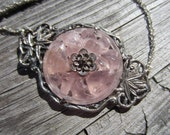 Vintage Sterling Silver Chinese Bamboo Carved Rose Quartz Flower Necklace