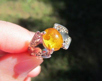 Vintage Sterling Silver Yellow Amber Lace Ring