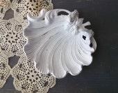 White scalloped sea shell soap dish. beach cottage tabletop shabby birdbath. french chic rustic romance
