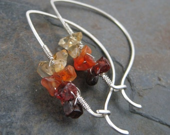 Garnet Carnelian Citrine - Flaming Rainbow -  Sterling Silver Elegant  Hoops