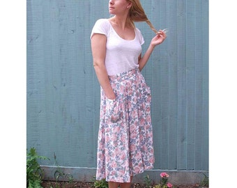 Pastel Floral Vintage Skirt - with Front Buttons, Pockets and Pleats