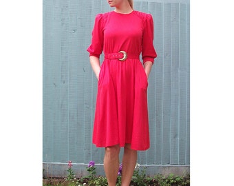 Red Dress, Vintage - Red Power Dress - with Belt and Shoulder Pads