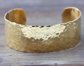 Thick Cuff Gold or Silver, Brass or Sterling Silver Hand Forged 1 inch Cuff Bracelet