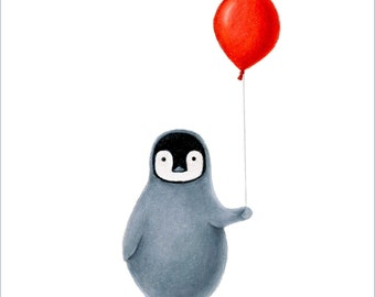 Penguin with Red Balloon 8 x 10 Print by SBMathieu