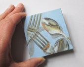 Mini Painting, Original Acrylic Painting, Small Art for Kitchen Home Decor